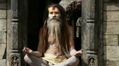 Nepalese sadhu man Stock Footage
