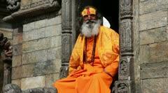 Portrait of Holy Sadhu man - stock footage