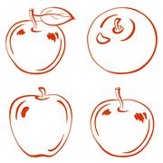 Fruits, outline apples Stock Illustration