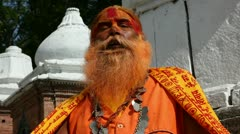 Portrait of Holy Sadhu man Stock Footage