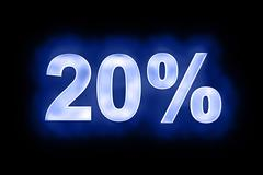20 percent in glowing numerals on blue - stock illustration