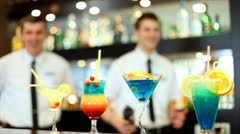 Two Bartenders in the Night club Stock Footage