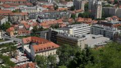 Ljubljana, Slovenia, aerial view on  famous market from Castle walls Stock Footage