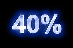 40 percent in glowing numerals on blue - stock illustration