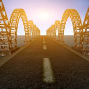 the view of old bridge - stock illustration