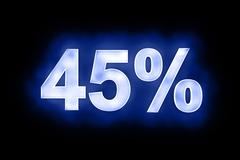 45 percent in glowing numerals on blue - stock illustration