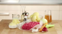 Ingredients for cottage pie (British minced meat bake topped with mashed Stock Footage