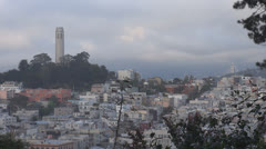 Coit Tower and Telegraph Hill at sunset, San Francisco Port, CA, USA Stock Footage