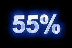 55 percent in glowing numerals on blue - stock illustration