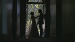 Silhouette of newly married couple kissing (1) dolly slow motion Stock Footage