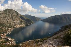 The blue colors of skies and waters of Boka Kotorska, Montenegro Stock Photos