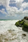 Sunny day on the ocean shore in Palm Beach, Florida Stock Photos