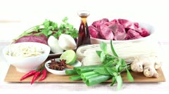 Ingredients for pho bo (Vietnamese noodle soup with beef) Stock Footage