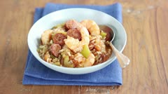 Jambalaya (Creole rice stew with prawns and sausage) Stock Footage