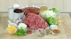 Ingredients with chilli con carne Stock Footage