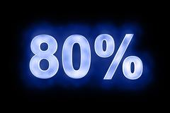 80 percent in glowing numerals on blue - stock illustration