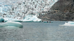 Two person kayak Mendenhall Glacier Juneau Alaska HD 7053 Stock Footage