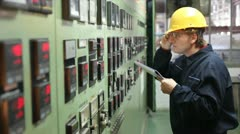 Engineer in the control room Stock Footage