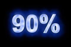 90 percent in glowing numerals on blue - stock illustration