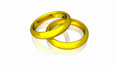 Wedding Rings - Gold - Animation Stock Footage