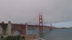 Golden Gate bridge with Fort Point in fog , San Francisco, CA, California, USA Stock Footage