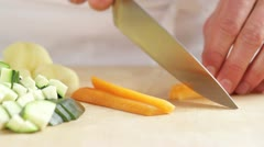 Stock Video Footage of Dicing carrots