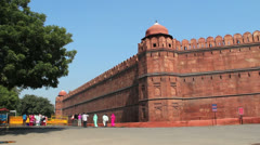 Delhi Red Fort walls c Stock Footage