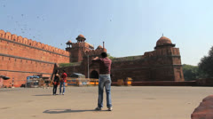 Delhi Red Fort visitors and photographer 1c Stock Footage
