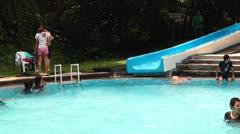 Water Slide in Aqua Park Stock Footage