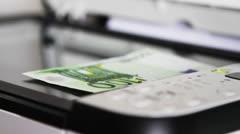 Scanning 100 Euro Stock Footage