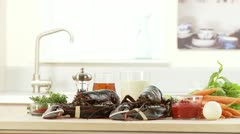 Ingredients for a lobster dish Stock Footage