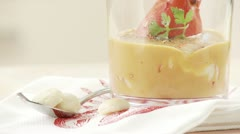 Lobster with lobster sauce in a glass - stock footage