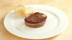 Arranging fillet steak with pepper sauce - stock footage