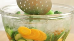 Blanching vegetables - stock footage