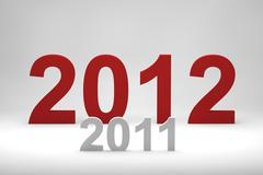 2012 red text over 2011 Stock Illustration
