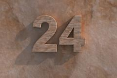Number 24 carved from marble on marble base Stock Illustration