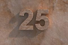 number 25 carved from marble on marble base - stock illustration