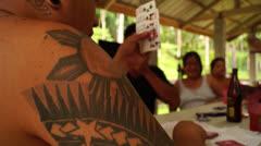 Tattooed Gambler Stock Footage