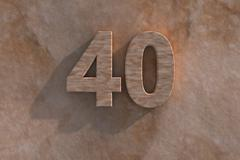 Number 40 carved from marble on marble base Stock Illustration