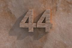 44 in numerals in mottled sandstone Stock Illustration