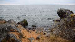 Autumn lake baikal Stock Footage