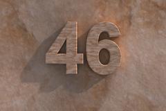46 in numerals in mottled sandstone Stock Illustration