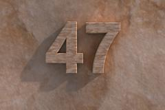 47 in numerals in mottled sandstone Stock Illustration