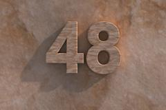 48 in numerals in mottled sandstone Stock Illustration