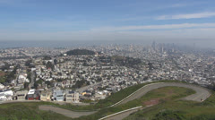 Aerial view of San Francisco city with The Financial District in foggy day, USA Stock Footage