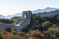 Great Wall in autumn - stock photo