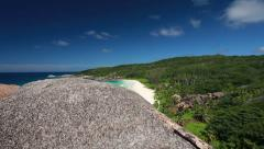 View from above over rock at tropical island Stock Footage