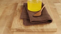 A jar of ghee (clarified butter) Stock Footage