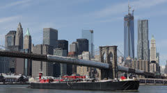 Cargo Ship, Downtown Manhattan Skyline, Brooklyn Bridge, New York, Freedom Tower Stock Footage
