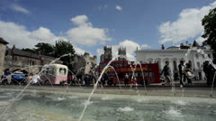 Fountains by bootham bar and york minster united kingdom Stock Footage